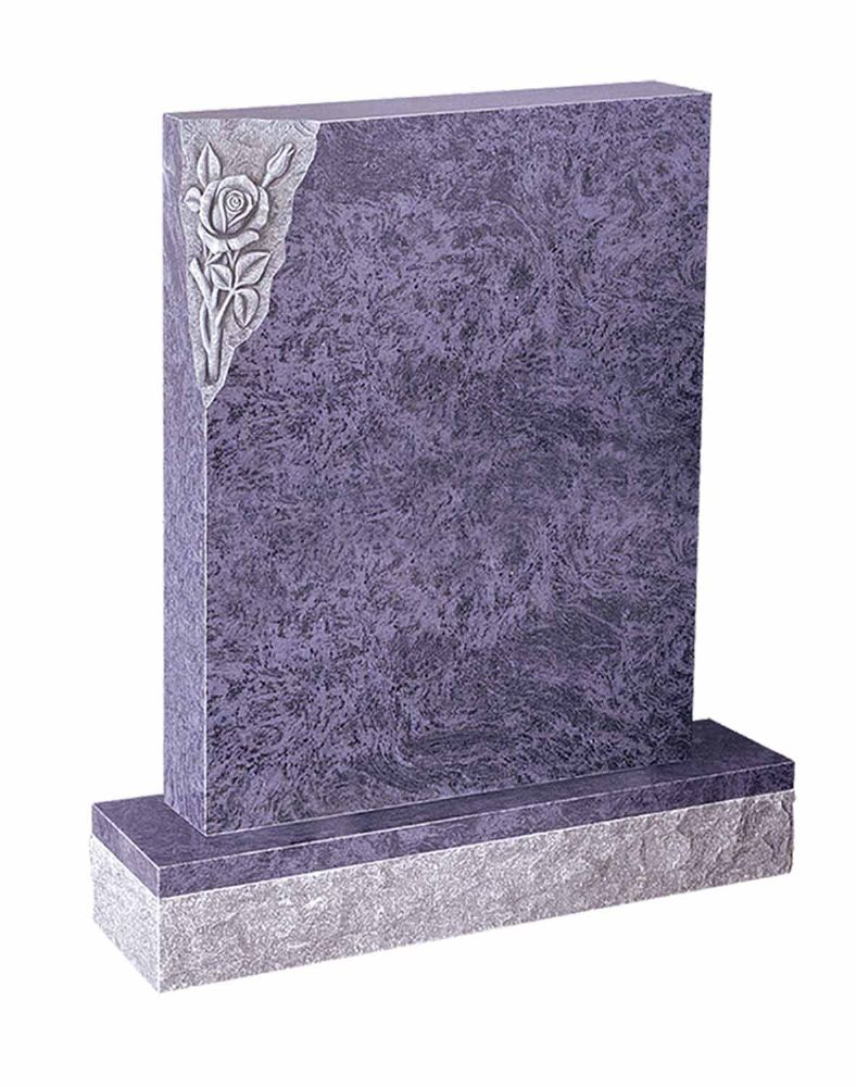 A classic square top memorial with a beautiful carved rose design. BRY 36